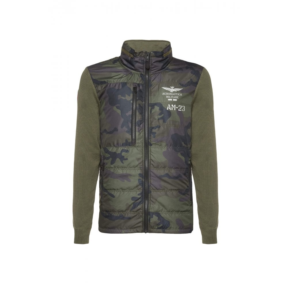 AERONAUTICA MILITARE Hybrid Knitwear Jacket in Camouflage